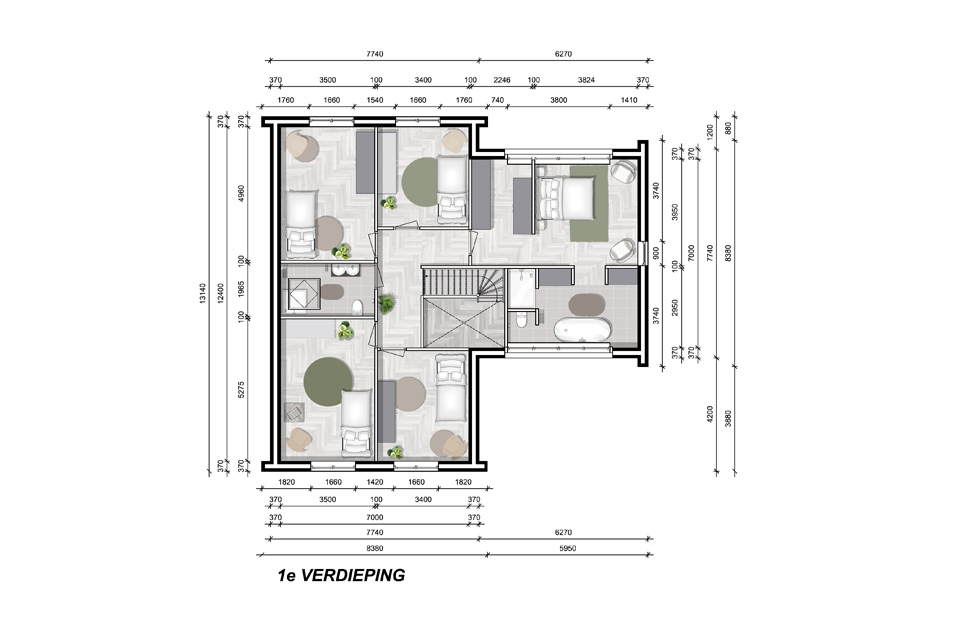 Model Rome 1e verdieping